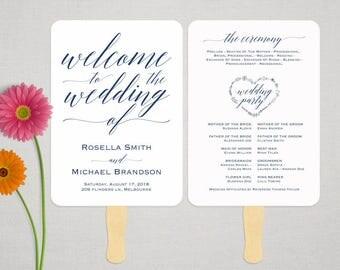 Navy Blue Wedding Program FAN PDF template, instant download editable printable, Ceremony order card, WPC_1162SD1B