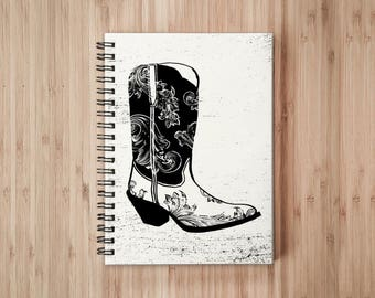 Cowboy Boots Notebook/Sketchbook Wire Bound - Blank pages
