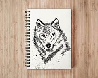 Wolf Notebook/Sketchbook Wire Bound - Blank pages