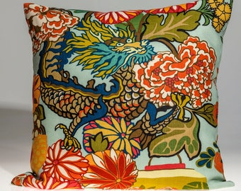 Schumacher Chiang Mai dragon pillow cover, aquamarine pillow cover, designer pillow cover, Decorative pillow,