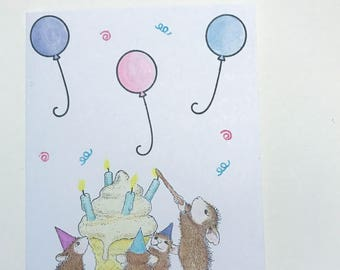 birthday  card  cupcake mice new handmade
