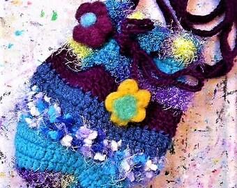 Fairy bag, pouch, crochet bag, drawstring bag, yarn, purse, boho