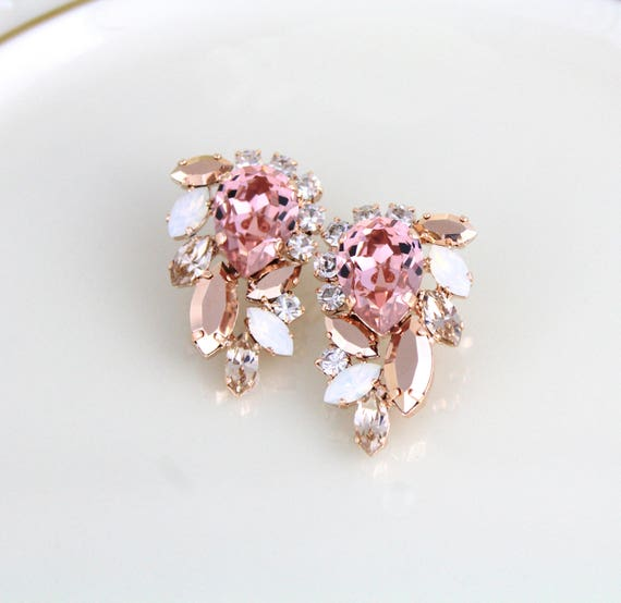 Rose gold earrings, Crystal Bridal earrings, Blush crystal earrings, Bridal jewelry, Wedding earrings, Wedding jewelry, Swarovski crystal