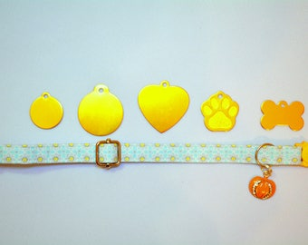 Fancy kitten collar 'Golden Kitty' gift set  - golden cat  ID tag with breakaway collar and bell - kitten collar - cat collar