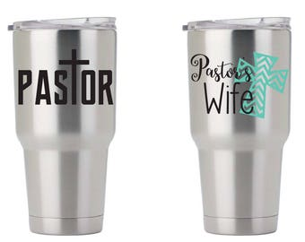 Yeti Tumbler Decal Pastor and Pastor's Wife Yeti To Go Mug Vinyl Decal