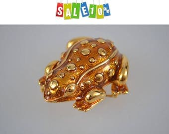 Vintage KJL Frog Brooch Pin Kenneth Jay Lane  Amber yellow and Gold