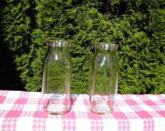 Pair Half Pint Milk Bottles, Vintage clear mid century glass jars in great condition, marked 54 and 56, collectors gift