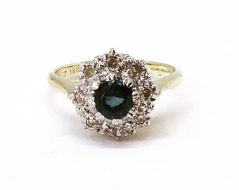 Vintage 18ct Gold Sapphire & Diamond Cluster Ring