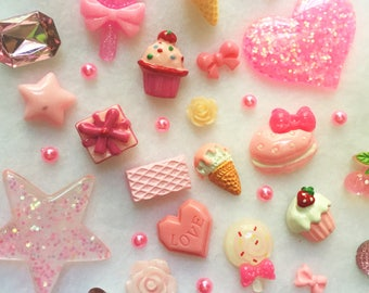 Pink Collection - Pink Decoden Kit Kawaii Cute Cabochons Cabochon Set Kawaii Cabochons Cute Beads Candy Sweets CA002
