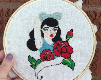 Pin up girl embroidery