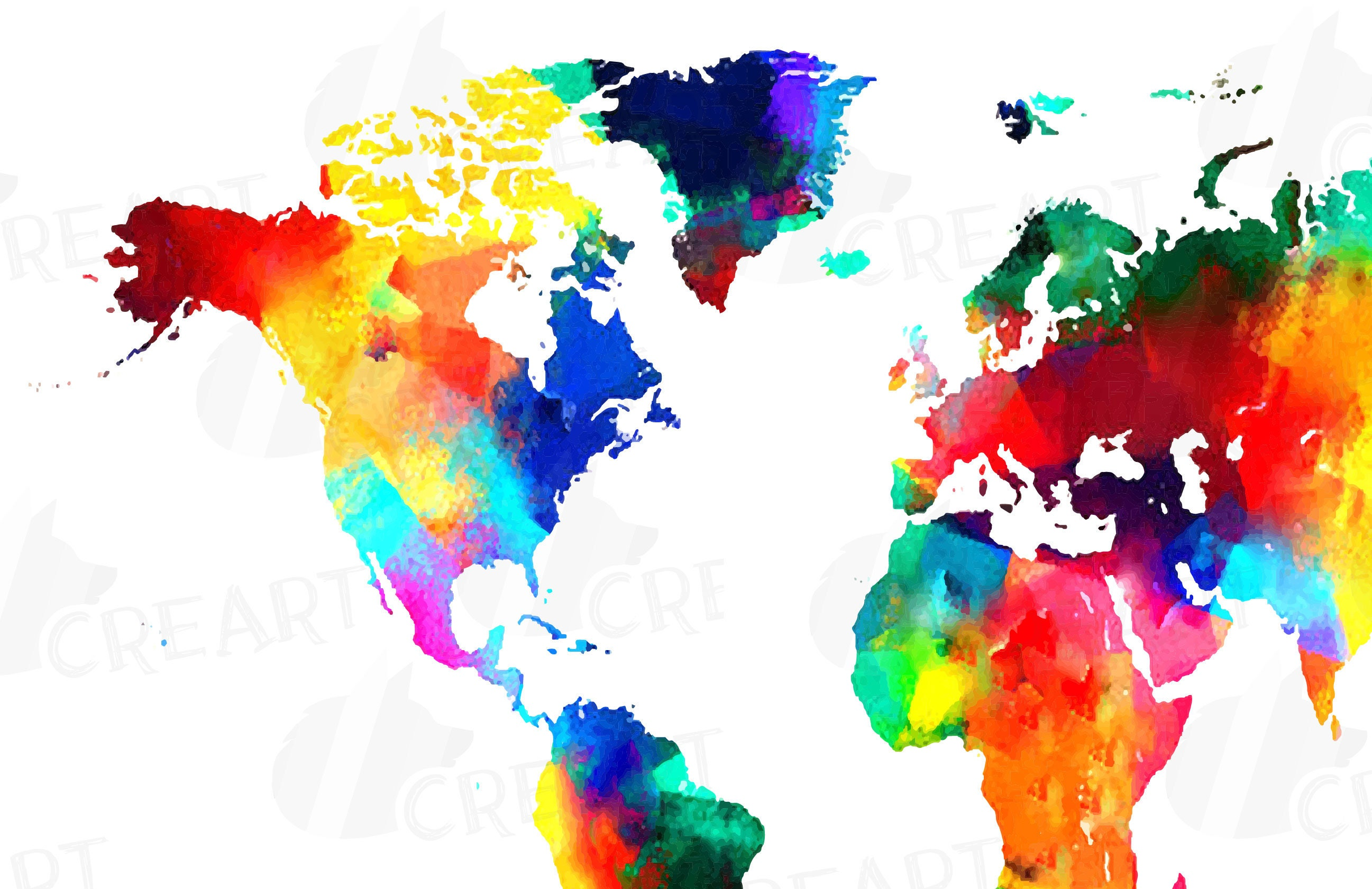 Watercolor world map poster digital art print eps png jpg svg this is a digital file gumiabroncs Choice Image
