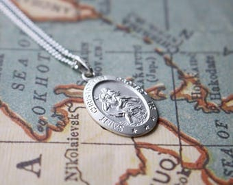 Sterling Silver Oval St Christopher Medal With Personalisation And Silver Necklace