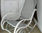 Shabby Chic Vintage Bentwood  And Rattan Rocking Chair Grey And Old White in Colour Thonet Style.