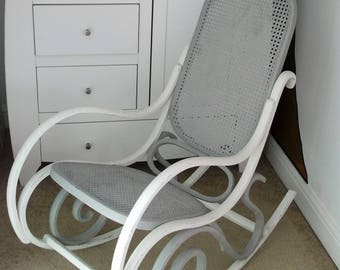 Shabby Chic Vintage Bentwood  And Rattan Rocking Chair Grey And Old White in Colour, Thonet Style.
