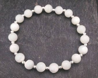 Genuine 925 Sterling Silver Stackable Ball Beaded Elastic Stretch Mother Of Pearl Healing Charm Bracelet Gift Idea