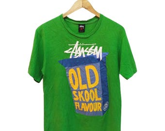 Hot Sale!!! Rare Vintage 90s STUSSY Old Skool Flavour T-Shirt Hip Hop Skate Swag Medium Size