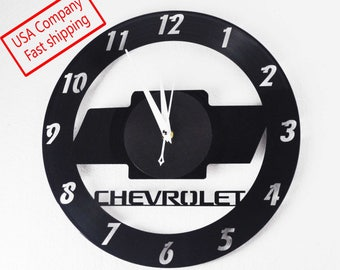 Chevy themed Vinyl Album Record Clock made in the > USA < with FREE Shipping!