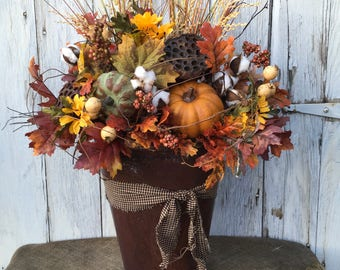 A Fall Arrangement in a Distressed Tin Container, Thanksgiving Centerpiece, Harvest Arrangement, Primitive Pumpkin Centerpiece, FAAP