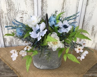 A Galvanized Tin Blue and White Floral Arrangement, Spring Arrangement, Summer Farmhouse Arrangement, Floral Centerpiece, Table Arrangement