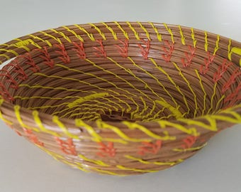 Orange & Yellow Pine Needle Basket - Natural - Handmade organic recycled material Black Walnut slice - Bowl - Hand Made in FL USA - 34.00
