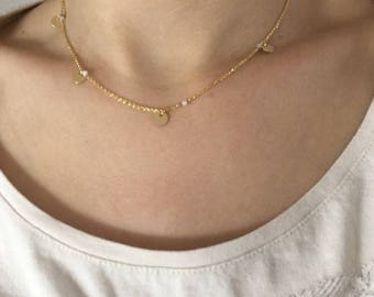 Medals necklace / Moonstone / gold plated
