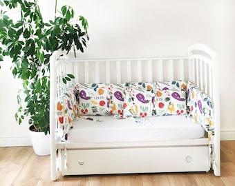 Crib Bumper - Bright Vegetables - White Bed Linen - Colorful Crib Bumper - Nursery Decor - Baby Cot Bumper- Summer Bumper - Cozy Bedding Set