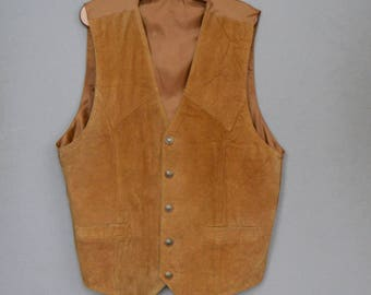 Brown Mens Suede Vest Vintage Leather Waistcoat  Leather Gentlemen's Formal Vest Western Country Style Extra Large Size