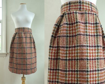 "60s high waist wool skirt size small | 27"" waist 
