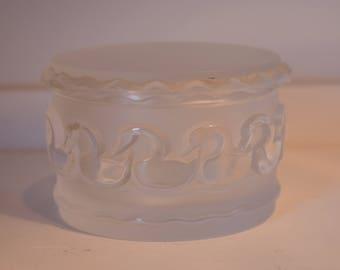 Gorgeous Lalique Swan Lidded Dresser Trinket Box, Signed