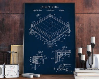 Fight Ring Boxing Patent Print, Digital Download, Boxing Poster Printable, Fight Stage Fight Club Wall Art, Boxer Fan Gift, Sports Gym Decor