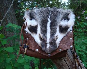 Badger face leather bag
