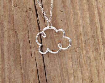 Sterling Silver Cloud Openwork Pendant Necklace 925 Weather Storm Rain