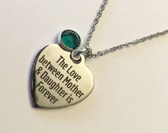 Free shipping Canada,Personalized Mother Daughter Necklace, Mother Necklace, Mother' gift from daughter,Birthstone Necklace, Gift for Mom
