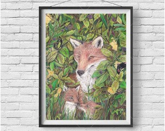 Fox Family Print