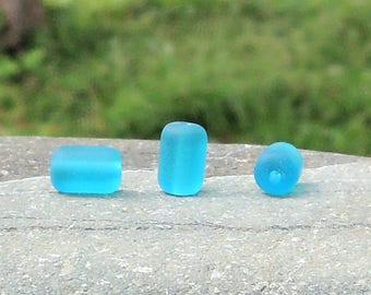 Cultured sea glass barrel nugget beads teal, 10x6 mm, 22 pcs