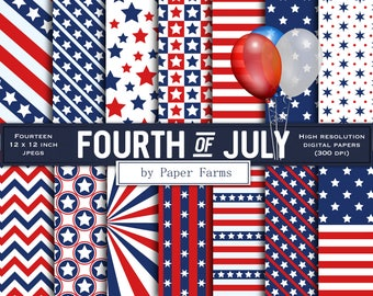 Fourth of July digital paper, fourth of July scrapbook paper, Independence Day, July 4th, 4th of July, digital paper, scrapbook paper, USA