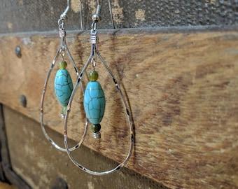 Teardrop Earrings with blue stone