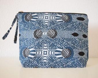 Blue Matrix African Fabric Clutch