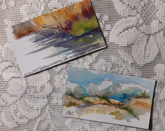 Outer Banks magnets, two magnet set, Jockey's Ridge, Nags Head, Roanoke Island, marsh sketch