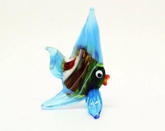 Small glass fish figurine animals glass blue fish miniature art glass fish toys murano animals tiny small figure glass sculpture gift miniat