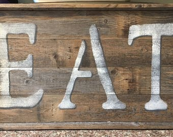 Large rustic kitchen wall sign, farmhouse kitchen, fixer upper style, Country kitchen decor, Eat, Rustic Kitchen decor, reclaimed wood decor