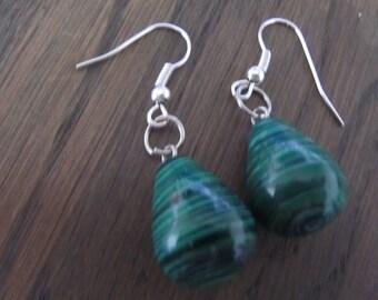 Earrings malachite, Malachite drop earrings, natural stone earrings