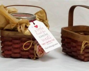 """Small 4"""" Wooden Valentine Baskets """"LITTLE JEANIE"""""""