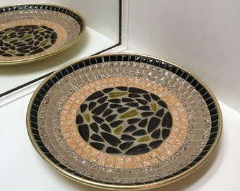Decorative Mid Century Mosaic Tile Gold Enamel Plate