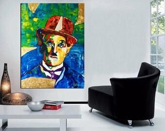 CANVAS PRINT, Charlie CHAPLIN Print Canvas, Large Print Art, Modern Print Decor, Wall Art Decor by Kathleen Artist