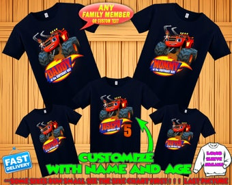 Blaze birthday shirt, Blaze and the monster machines birthday tshirt, blaze theme party shirts, blaze family shirts, Blaze matching shirts