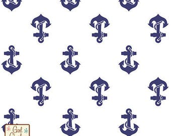 """Fabric Remnant - Navy Blue Anchors Away - Girl Charlee Jersey Knit Collection - 8.5""""x56"""""""
