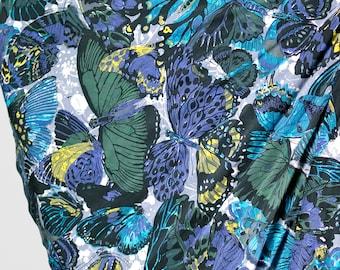50s Novelty Print Circle Skirt / 1950s Butterfly Full Gored Skirt Size XS / 50's Below the Knee Swing Skirt / 1950's Blue Cotton Midi Skirt