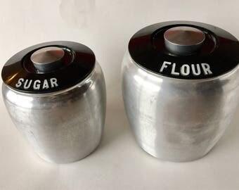 Vintage Kromex brand aluminum Flour and Sugar canisters