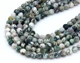 Matte Tree Agate Beads 8mm Natural Green Gemstone Beads Mala Beads Green Spot Agate Beads Green White Agate Beads Frosted Green Stone Beads